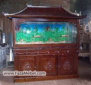 Meja Aquarium Jati Ukir