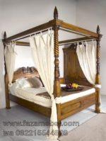Tempat Tidur Jati Kanopi