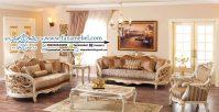Kursi Tamu Klasik Carlos Putih Emas